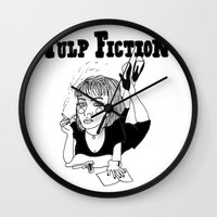 pulp fiction Wall Clocks featuring Pulp Fiction by ☿ cactei ☿