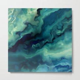 Ocean, Watercolor, Abstract Metal Print