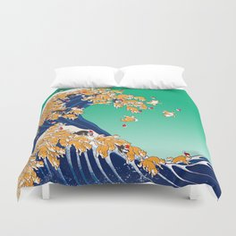 Christmas Shiba Inu The Great Wave Duvet Cover