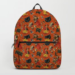 Vintage Black Cat Halloween Toss in Pumpkin Spice Backpack