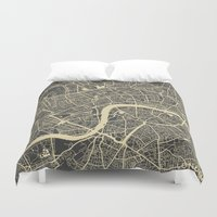 london map Duvet Covers featuring London map by Map Map Maps