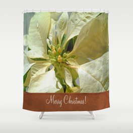 Pale Yellow Poinsettia 1 Merry Christmas S1F1 Shower Curtain