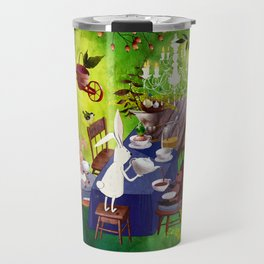 Bunny Tea Party in forest Travel Mug