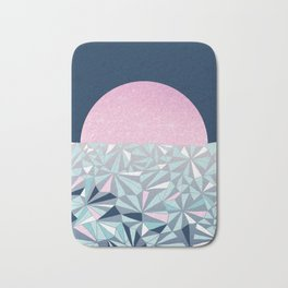 Geometric Sunset - Navy Blue and Pink Bath Mat
