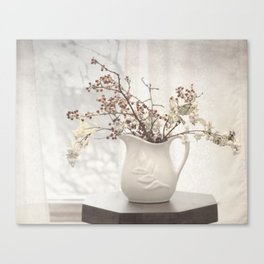 Berries in White Vase Canvas Print