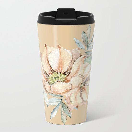 Desert Cactus Flower Apricot Coral Metal Travel Mug