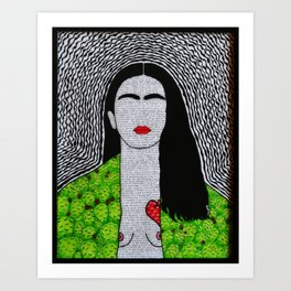 Frida Kahlo corazon de Tuna y sus fraces Art Print