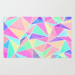 Pink and Girly Watercolors Geometric Triangles Rug