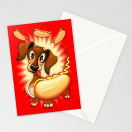 Dachshund Hot Dog Cute and Funny Character Stationery Cards