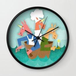 Rub a Dub Dub, 3 Unicorns in a Tub Wall Clock