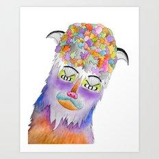 Psychic Bison Cat Art Print