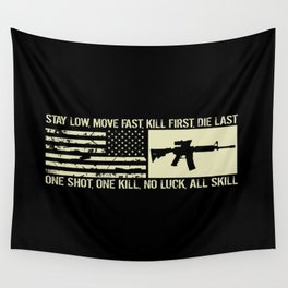 M4 Assault Rifle & Tactical Flag Wall Tapestry