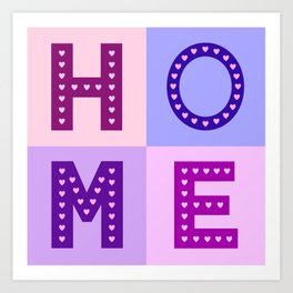 Love Hearts Home Type Pinks Purples Art Print