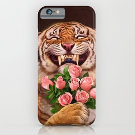 Smiling (shy) Tiger - holding bouquet (rose) iPhone Case