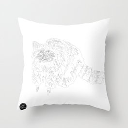 Scribbly Racoon Throw Pillow