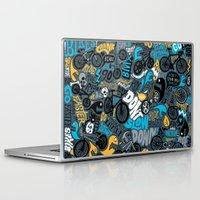 bikes Laptop & iPad Skins featuring Bikes pattern by Chris Piascik