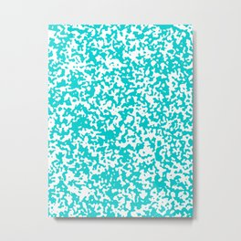 Small Spots - White and Cyan Metal Print