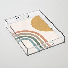 Mid Century Colorful Sun & Rainbow Acrylic Tray