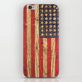 Vintage Patriotic American Flag on Old Wood Grain iPhone Skin