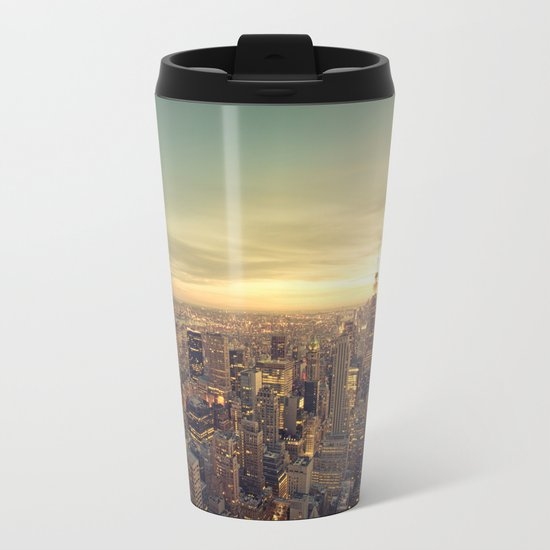 New York Skyline Cityscape Metal Travel Mug