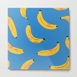Tropical Bananas Print Pattern Yellow Blue Decor Metal Print