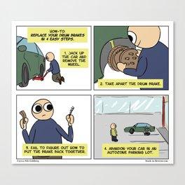 """Drum Brake Tutorial"" - Stuck in Reverse comic Canvas Print"
