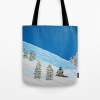 snowboarding Tote Bags featuring Snowboarding by N_T_STEELART