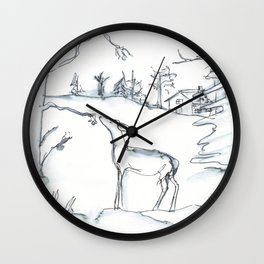 Winter Scene with Deer, watercolor and ink Wall Clock