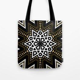 Black White + Gold Geometric Star Tote Bag