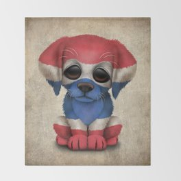Cute Puppy Dog with flag of Thailand Throw Blanket