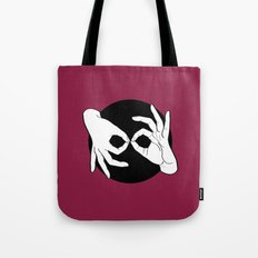 Sign Language (ASL) Interpreter – White on Black 14 Tote Bag