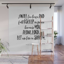 Psalm 4:8 - Bible Verse Wall Mural