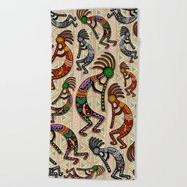Kokopelli Rainbow Colors on Tribal Pattern  Beach Towel