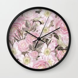 Floral Vintage painterly background in pink with Roses Flowers and insect Wall Clock