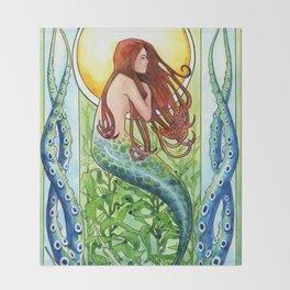 Kelp Forest Mermaid Throw Blanket