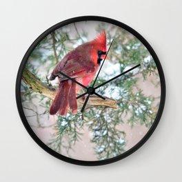Snow Day Cardinal Wall Clock