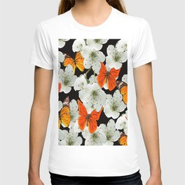 Cherry flowers and colorful butterflies on a black background T-shirt