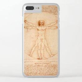 Vitruvian Man (Uomo Vitruviano) Leonardo da Vinci Clear iPhone Case