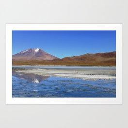 Volcano Reflections in the Bolivian Desert Art Print