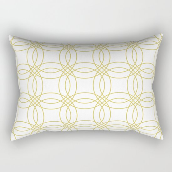 Simply Vintage Link Mod Yellow on White Rectangular Pillow
