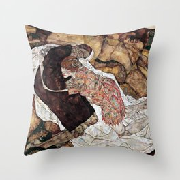 Egon Schiele Death and the Maiden Throw Pillow