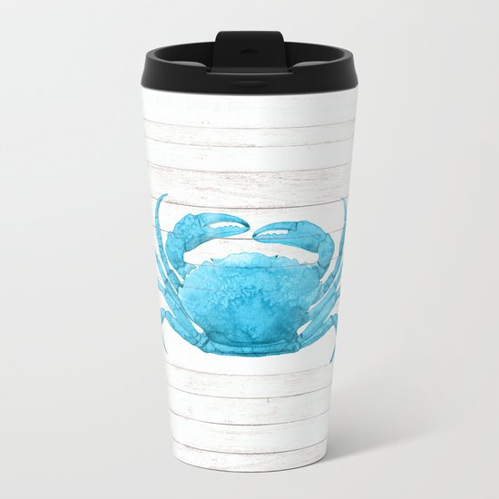 Nautical Blue Crab Driftwood Dock Metal Travel Mug