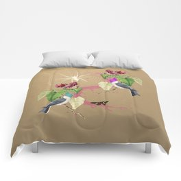 Exotic Gold Glitter Birds Spider by Black Jungle Comforters