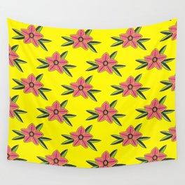 Hand Drawn Old School Tattoo Flower - Bright Yellow Wall Tapestry