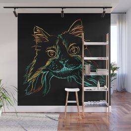 Fluffy Tuxedo Kitty Wall Mural