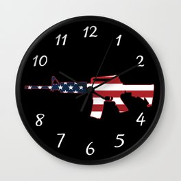 AR-15 Stars & Stripes Rifle Wall Clock