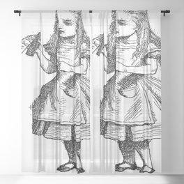 Alice Drink Me Bottle Alice in Wonderland in Black with Transparent Background Sheer Curtain