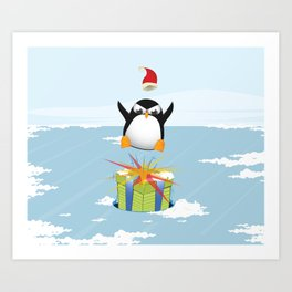 Angry penguin Art Print
