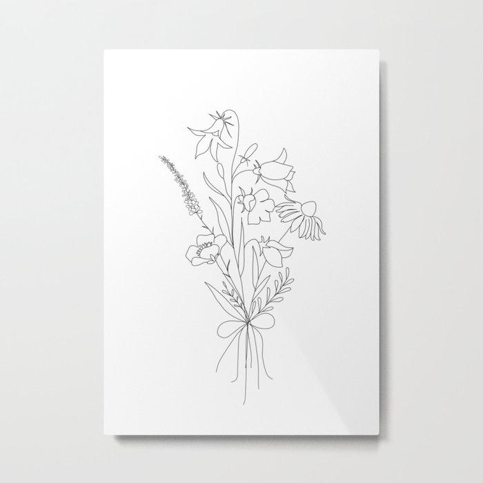 Small Wildflowers Minimalist Line Art Metal Print