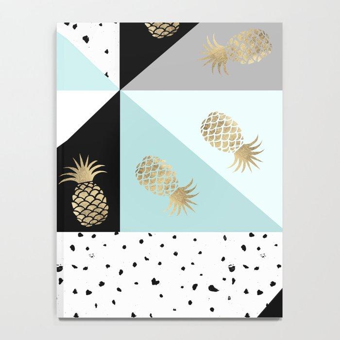 Pastel color block watercolor dots faux gold pineapple Notebook
